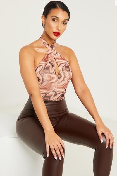 Brown Marble Print Halterneck Bodysuit